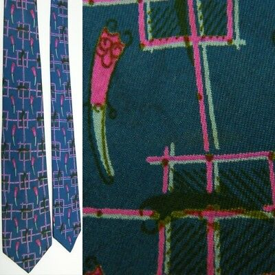 New 1930s Mens Fashion Ties VTG 1930S 40S MAC DONALD  BLUE PINK CHECKER FRENCH FRY WITH CATSUP SILK NECK TIE $39.99 AT vintagedancer.com
