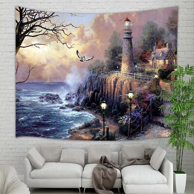Lighthouse Ocean Coast Seagull Bird Tapestry Wall Hanging for Dorm Home -