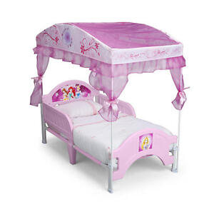 Disney Princess Canopy Toddler Bed-Pink and White Canopy