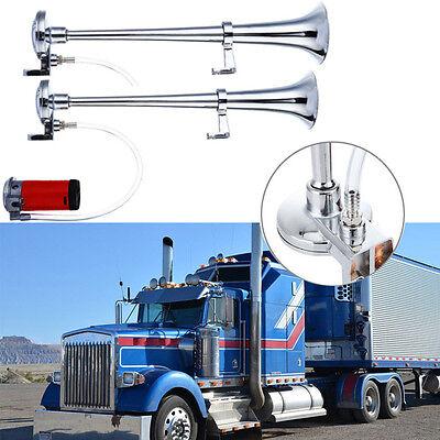 UK 2x 12V Super Loud Air Horn Single Trumpet Compressor Truck Lorry Boat Train