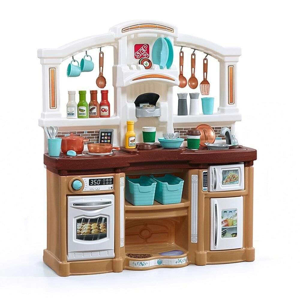 Details about Step2 Fun with Friends Play Kitchen, Tan/Brown -- Kids  Toddler Pretend PlaySet