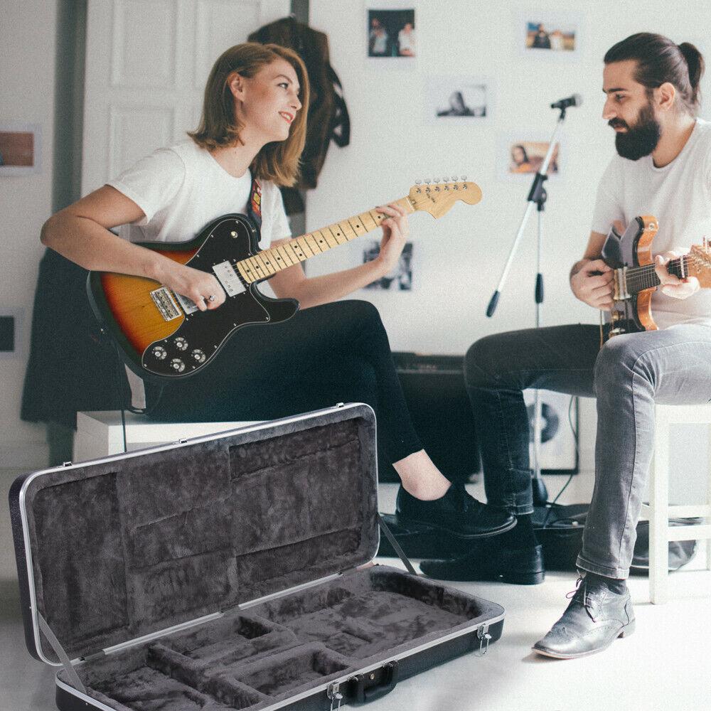 ABS Molded Electric Guitar Case Hardshell Rectangular Strat/Tele Style Lockable