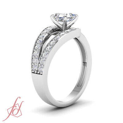 1.35 Ct Diamond Split Band Pave Set Ring With Asscher Cut And Round Accents GIA 2
