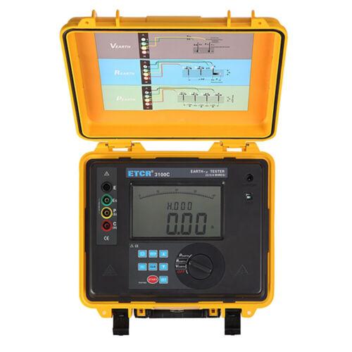 Earth Ground Resistance Detector Soil Resistivity Tester 30kΩ 9000kΩm Data hold