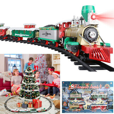 20 PCS Electric Christmas Train Tracks Set w/ Lights Sounds Kids Toy Around Tree