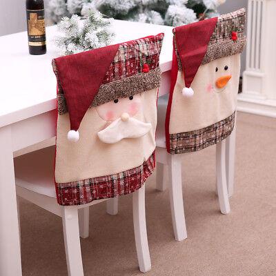 Christmas Chair Cover Santa Claus Snowman Decorations for Home Chair Back Cover (Chair Decorations For Halloween)