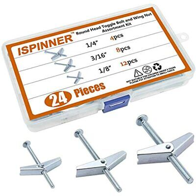 ISPINNER 24pcs Zinc Plated Steel Round Head Toggle Bolt And Wing Nut Assortment
