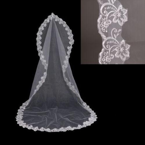 3M*1.5M Cathedral Length Lace Edge Bride Wedding Bridal Veil