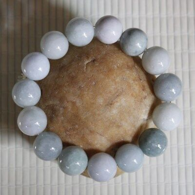 100% Natural (Grade A) Untreated Light Green Jadeite JADE Bracelet 13mm #Br385