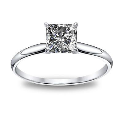 Classic Natural Princess Cut Solitaire Diamond Engagement Ring GIA Certified