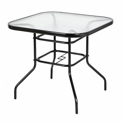 Glass Top Patio Dining Table Square Backyard Bistro Table Outdoor Garden Table Glass Top Patio Tables