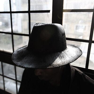 c2dcd3b6af327 ByTheR Men s Round Black Paint Custom Detail Wool Fabric Made Felt Fedora  Hat
