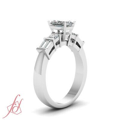 Radiant Cut And Baguette Diamond Rings For Women 1 Carat  In 14K White Gold GIA 2