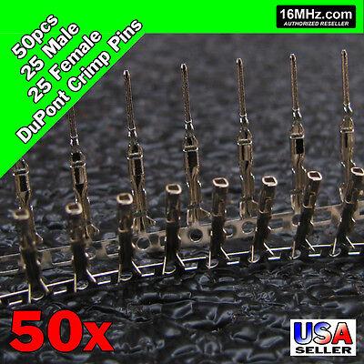 50x Dupont Jumper Wire Pins 25x Male 25x Female Crimp Connectors 50pcs Q28