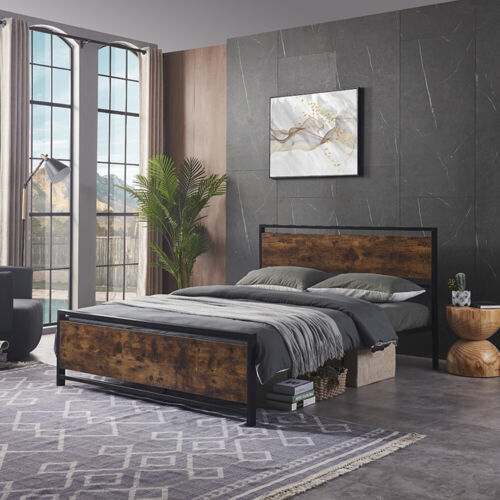 Full/Queen Size Metal Platform Bed Frame Wooden Headboard &Footboard Bedroom