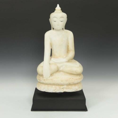 SEATED FIGURE OF BUDDHA BHUMISPARSHA MUDRA CARVED ALABASTER BURMA 20TH C.