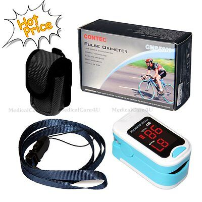 Fda Cleared Fingertip Led Pulse Oximeter Cms-50m In Blue With Case And Lanyard