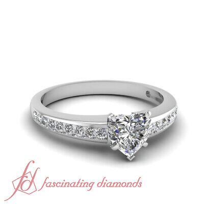 .70 Ct GIA Certified Heart Shaped F-Color Diamond Engagement Ring Channel Set