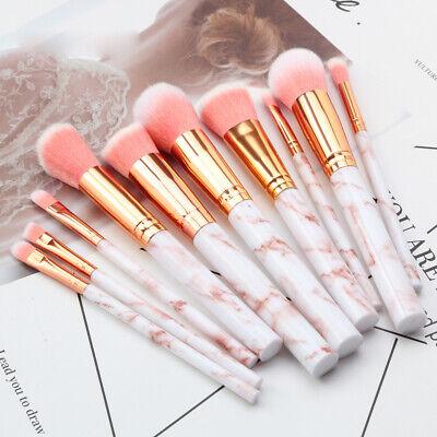 UK Marbling Kabuki Make up Brush Set Brushes Blusher Face Powder Pink Grey 10PCS