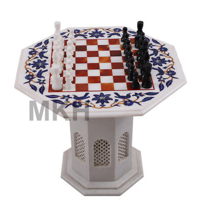 "22"" Marble Inlay Chess Board Set Vintage Stone Pieces Coffee Table Marquitry"