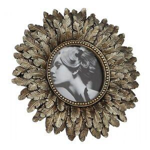 Gold Round Photo Picture Frame - Vintage Art Nouveau Style