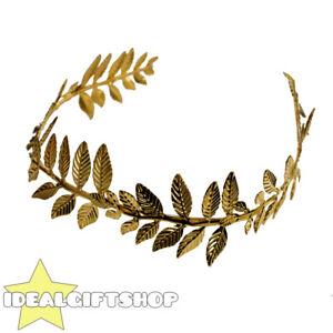 GOLD LAUREL ROMAN GREEK GODDESS GOD LEAF WREATH HEADPIECE FANCY DRESS ACCESSORY