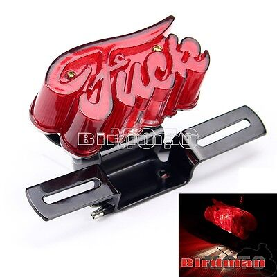 Red Lens Brake License Plate Tail Light With Bracket For Harley Chopper Bobber