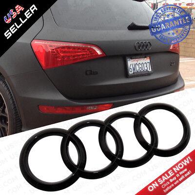 AUDI Gloss Black Liftgate Trunk Logo Rings Badge Emblem Decoration Q5 SQ5 Q7 (Audi Trunk)