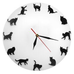 Black Cats Wall Clock Kitty Kittens Wall Clock Modern Wall Watch Cat Lover Gift