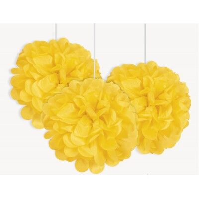 Gelb Mini Puff Bälle 3er Packung Papier Party Dekoration Hochzeit Baby Dusche