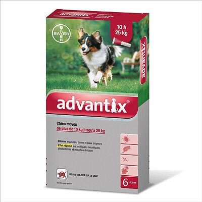 Advantix - Antiparasitaire Chien Moyen - (10-25 kg) - 6 pipettes