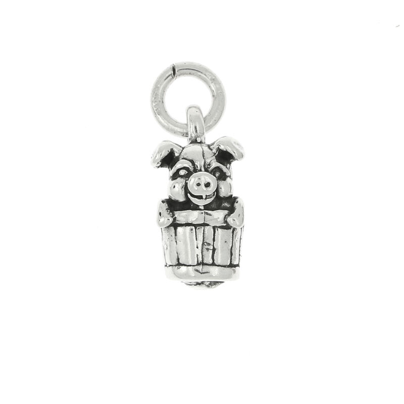 STERLING SILVER PIG IN A BARREL CHARM OR PENDANT