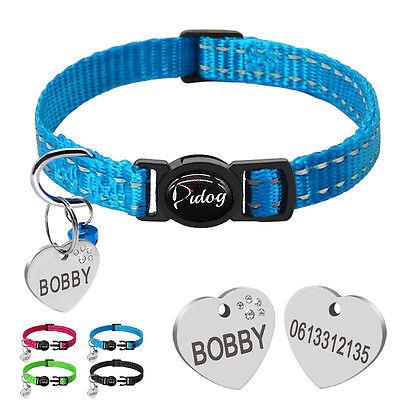 Reflective Dog Kitten Cat Breakaway Collar Personalized Tag