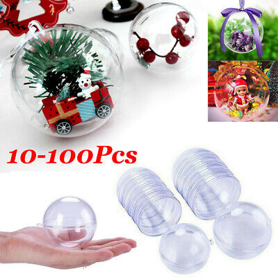 New Clear Plastic Ball Baubles Sphere Fillable Christmas Ornament Craft Gift Lot](Plastic Ornament Ball)