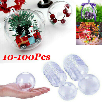 New Clear Plastic Ball Baubles Sphere Fillable Christmas Ornament Craft Gift -