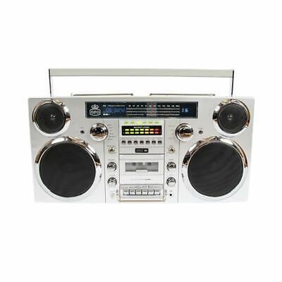 Retro Boom Box (GPO Retro Brooklyn Bluetooth Boombox 80W CD Cassette FM USB Silver Used NO)