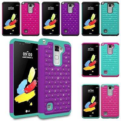 For LG G Stylo 2 / Stylus 2 Hybrid Hard Diamond Bling Cell Phone Case Skin Cover Cell Phone Hard Skin
