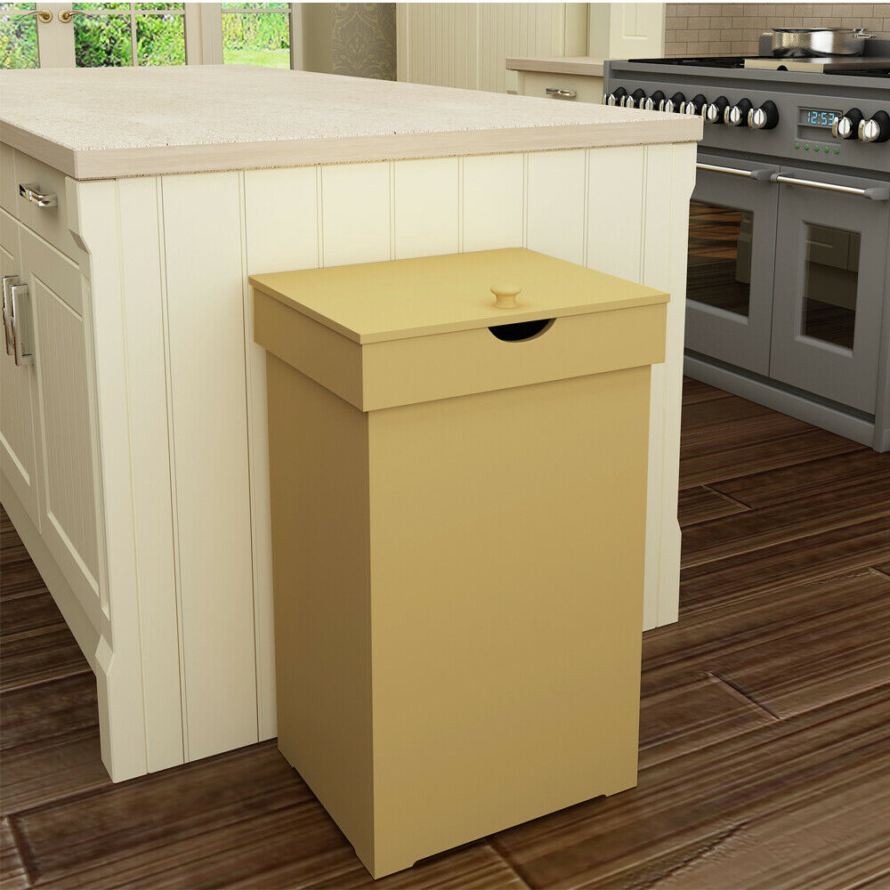 Details about 13-Gallon Retro Trash Can Kitchen Garbage Bin Wooden  Recycling Wastebasket w/Lid