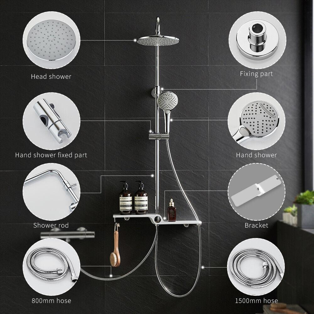 Edelstahl Duschsystem mit Regal Regendusche Thermostat Duscharmatur Duschsäule