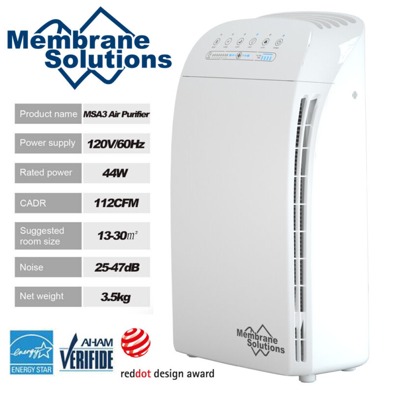 MSA3 840SqFt Air Purifier for Home Large Room w/True HEPA Filter,100%Ozone Free