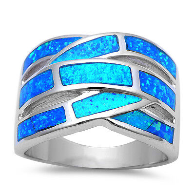 Blue Fire Opal Band .925 Sterling Silver Ring SIZES 5-11
