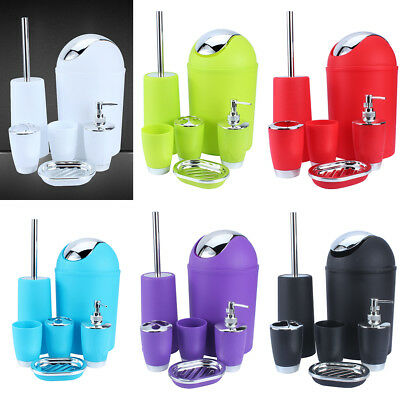 6Pcs Bathroom Accessory Set Bin Soap Dish Dispenser Tumbler Toothbrush Holder