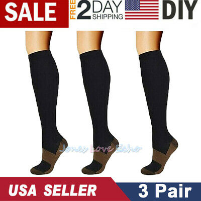 3 Pairs Copper Fit Energy Knee High Compression Socks Pain Relief SM L/XL XXL US