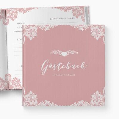 Gästebuch Hochzeit | Fragen | Romantik | personalisiert | Spitze Blumen altrosa ()