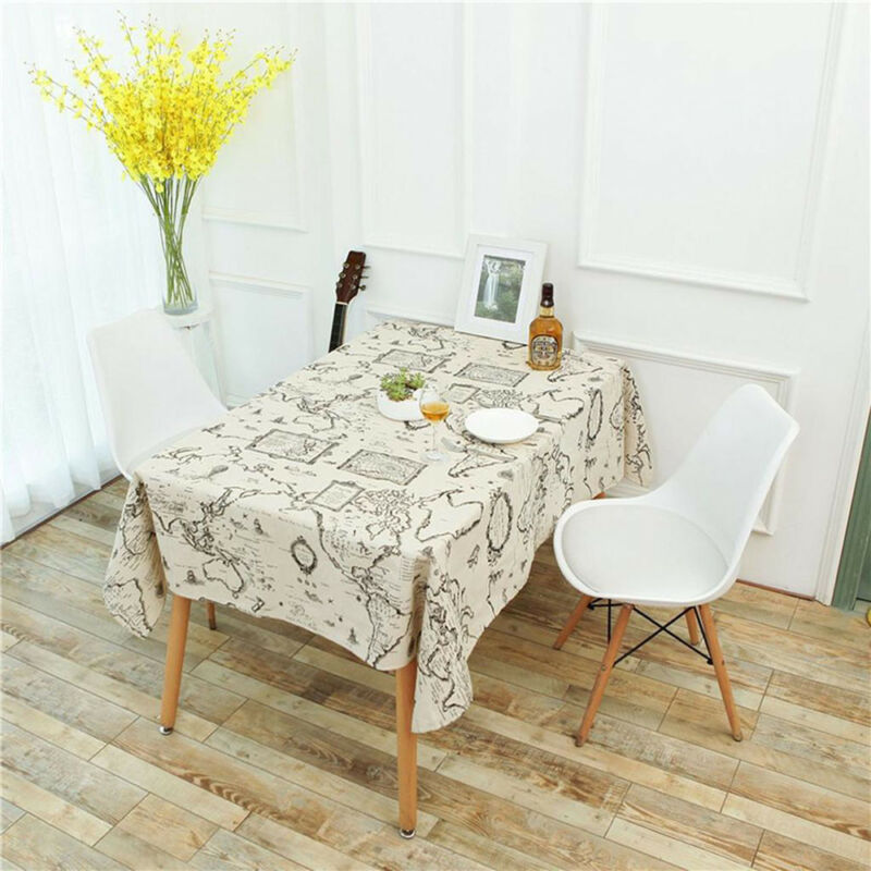 World Map Table Cotton Linens Dinning