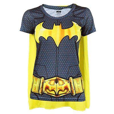 Womens DC Comics Batman Superhero Costume T Shirt with Cape Black Fancy Dress (Superhero T Shirts With Cape)