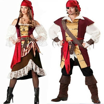 Gypsy Caribbean Pirate Captain Swashbuckler Man/Womens Costume Halloween