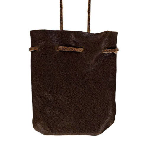 "NEW Dark Brown Leather Mojo Bag 3"" Medicine Pouch Drawstring Spell Necklace"