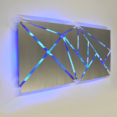 Modern Large Geometric Abstract Metal Wall Art LED Decor Painting - Brian Jones ()