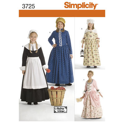 PATTERN for Colonial Pilgrim costume dress Simplicity 3725 sz 3-6 Thanksgiving (Colonial Dresses For Kids)